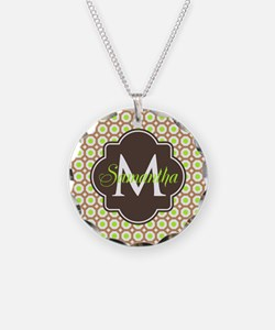 Monogrammed Brown Lime Geome Necklace