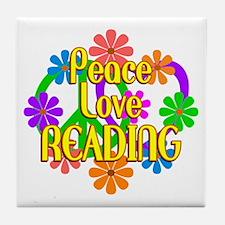 Peace Love Reading Tile Coaster