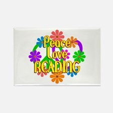 Peace Love Reading Rectangle Magnet (10 pack)
