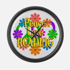Peace Love Reading Large Wall Clock