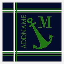 Navy and Green Anchor Monog Invitations