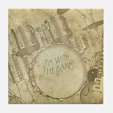 Vintage Drums & Guitar Tile Coaster