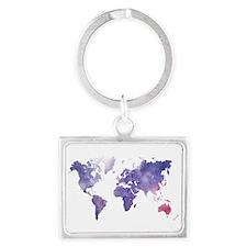 Purple Watercolor World Map Keychains