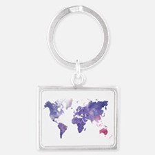 Purple Watercolor World Map Keychains