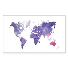 Purple Watercolor World Map Stickers