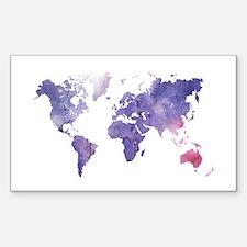 Purple Watercolor World Map Stickers