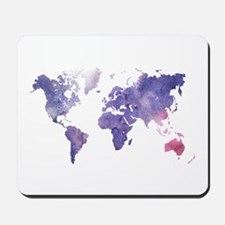 Purple Watercolor World Map Mousepad