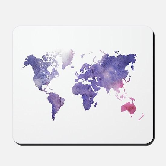 Purple Watercolor World Map Mousepad