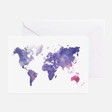 Purple Watercolor World Map Greeting Cards