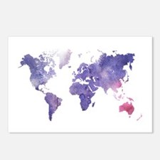 Purple Watercolor World Map Postcards (Package of