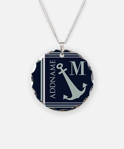 Navy and Mint Anchor Monogra Necklace