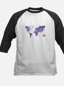 Purple Watercolor World Map Baseball Jersey