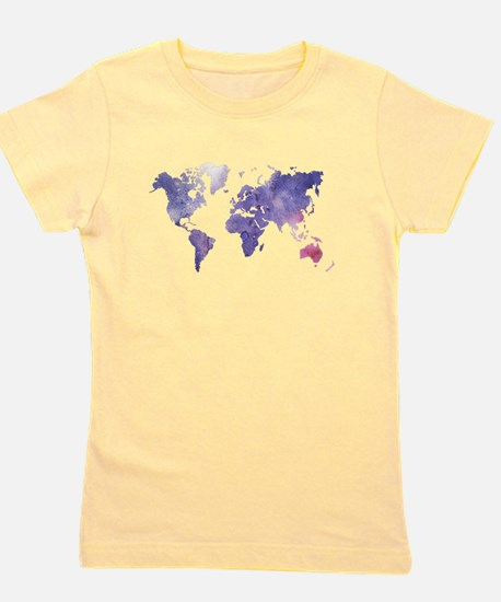 Purple Watercolor World Map Girl's Tee