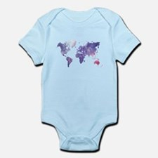 Purple Watercolor World Map Body Suit