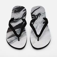 modern black white marble Flip Flops