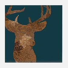 Dark green and Floral Brown Reindeer Tile Coaster