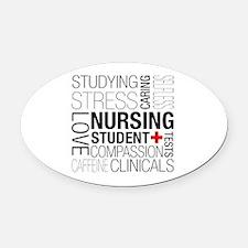 Nursing Student Box Oval Car Magnet