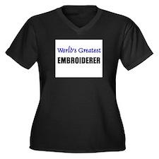 Worlds Greatest EMBROIDERER Women's Plus Size V-Ne