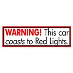 Car Coasts to Red Lights bumper sticker