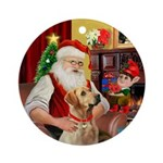 Santa's Yellow Lab (#8) Ornament (Round)