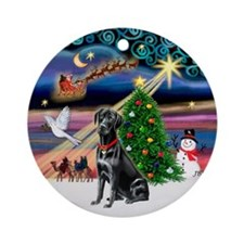 Xmas Magic & Black Lab (#1B) Ornament (Round)