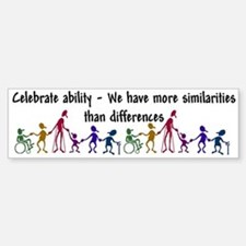 """Celebrate Ability"" Bumper Car Car Sticker"