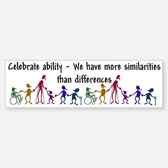 """""""Celebrate Ability"""" Bumper Car Car Sticker"""