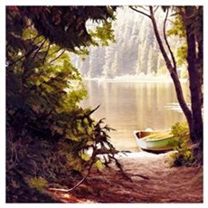 Rowboat by the lake Poster