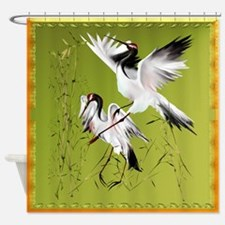 Two Crane In Bamboo Shower Curtain