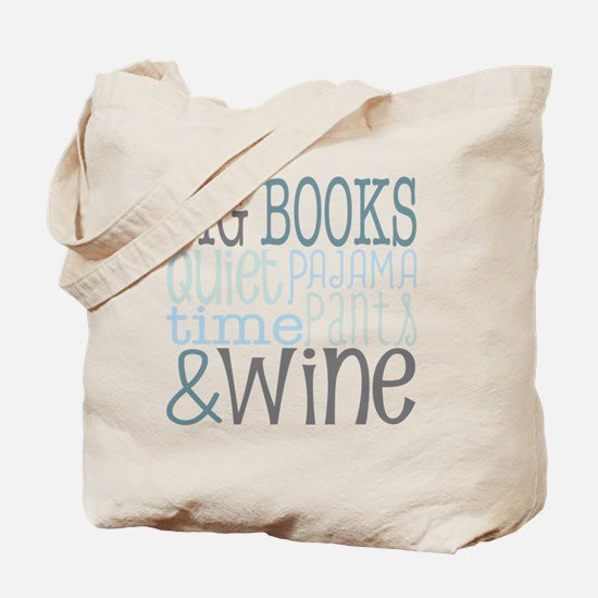 Big Books, Pajamas,Quiet, Wine Blue Tote Bag