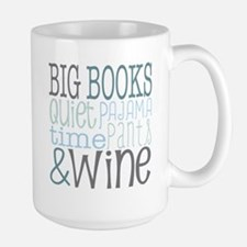 Big Books, Pajamas,Quiet, Wine Blue Mugs