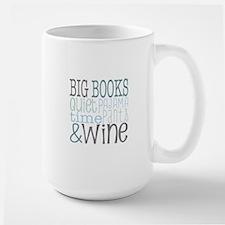 Big Books, Pajamas,Quiet, Wine Blue Mugs