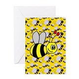 Bumble bee 1st birthday Greeting Cards