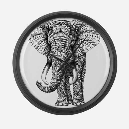 Paisley Elephant Large Wall Clock