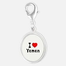 I Love Yemen Silver Oval Charm