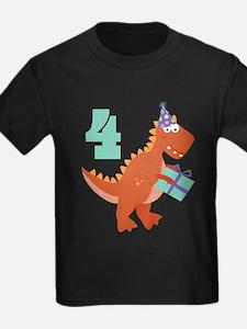 Funny Dinosaur birthday 4th T