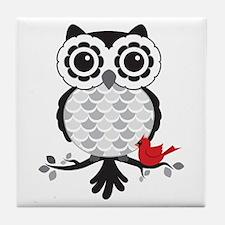 Grey & White Owl With Cardinal Tile Coaster