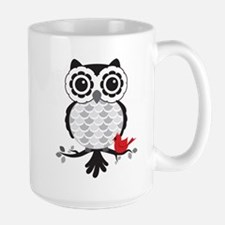 Grey & White Owl with Cardinal Mugs