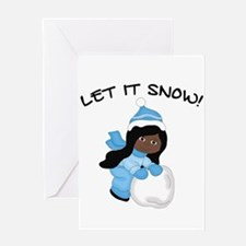 Let It Snow _AA Black Greeting Cards