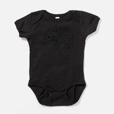 Black Floral Paisley Elephant Illust Baby Bodysuit