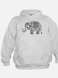 Black Floral Paisley Elephant Illustra Hoodie