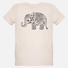 Black Floral Paisley Elephant Illustration T-Shirt