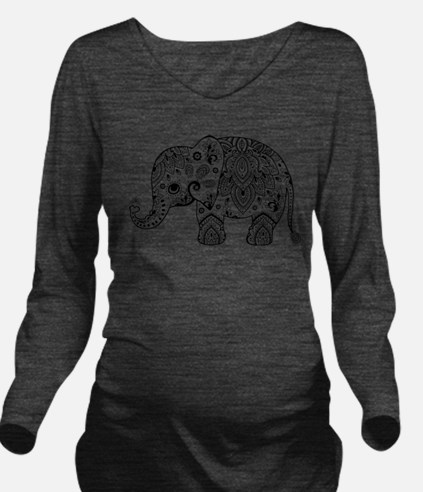 Black Floral Paisley Long Sleeve Maternity T-Shirt