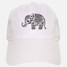 Black Floral Paisley Elephant Illustration Baseball Baseball Cap