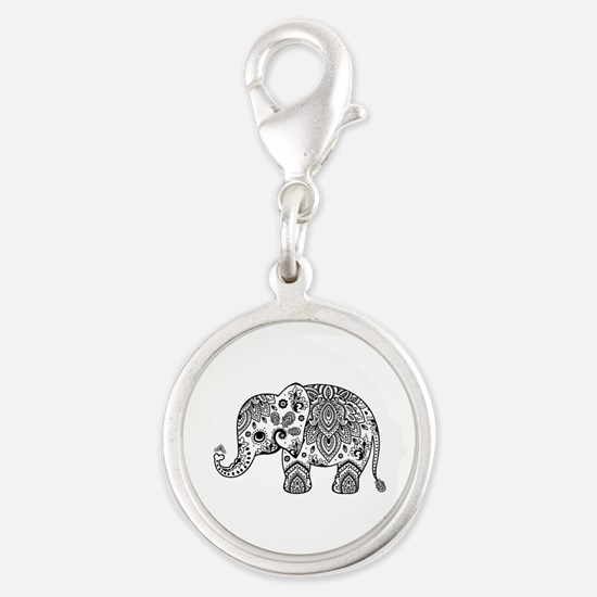 Black Floral Paisley Elephant Illustration Charms