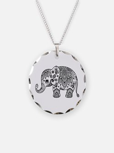 Black Floral Paisley Elephan Necklace