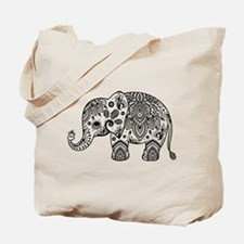 Black Floral Paisley Elephant Illustratio Tote Bag