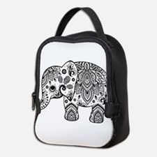Black Floral Paisley Elephant I Neoprene Lunch Bag