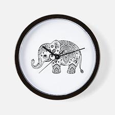 Black Floral Paisley Elephant Illustrat Wall Clock