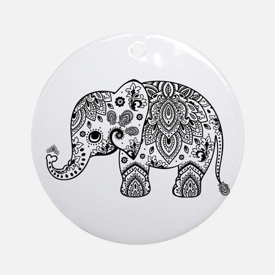 Black Floral Paisley Elephant Illus Round Ornament